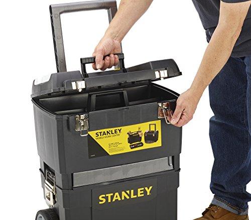 Stanley Rollende Werkstatt / Werkzeugwagen (47.3x30.2x62.7cm, zwei seperat verwendbare Werkzeugboxen, robuster Kunststoff, zwei Einheiten, Metallschließen, Organizer) 1-93-968 - 6