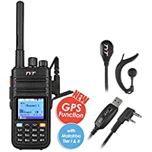 TYT Tytera Upgraded MD-380G DMR Digital Radio, with GPS Function! UHF Two-Way Radio, Walkie Talkie Compatible with Mototrbo, Transceiver with 2 Antenna & Programming Cable & Earpiece Headset, Black