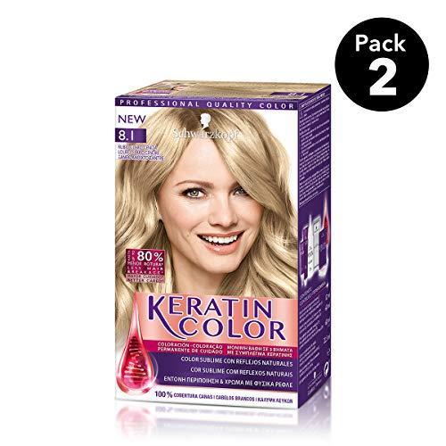 Keratin Color de Schwarzkopf - Tono 8.1 Rubio Claro ceniza - 2 uds - C