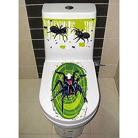 Lugii Cube Halloween Horrible de salle de bain Abattant WC et réservoir Autocollant lunette WC Coque Décoration de fête