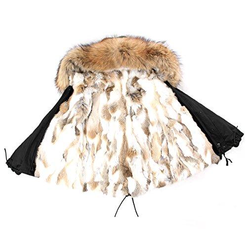 PARKA XXL Kragen aus 100% ECHTPELZ ECHTFELL Jacke Mantel Schwarz Beige Nude KURZ (M / 36) (Pelz Damen Kaninchen Jacke Mantel)
