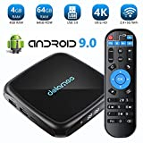 TV Box Android 9.0-4GB RAM + 64GB ROM Dolamee 4K Ultra HD Smart TV Box con Dual 2.4G y 5.0G WiFi /3D/USB 3.0/Ethernet 10M/100M/HDMI,2019 New D18 Mini Media Player