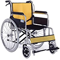 Silla De Ruedas Multifunción Ligero Espesamiento Aluminio Plegable Portátil Scooter De Freno De Mano Médico Equipo Discapacitado Paciente Mayor, Amarillo