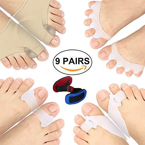 Kit de reparación de dedos de los pies para mujeres y hombres para llevar con zapatos día y noche cuidado de pies de juanetes ayuda tratamiento de dolor en los dedos del pie 9 unidades