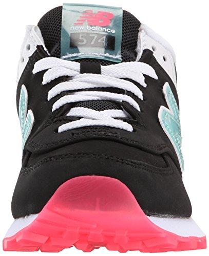 New Balance Wl574, Baskets Basses Femme Nero/Turchese