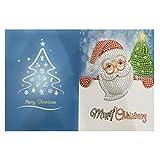 Kongnijiwa 1pcs Diamant Malerei Cartoon Mini Weihnachtsmann Frohe Weihnachten Papier-Gruß-Postkarten Fertigkeit DIY Kids Festival Greet Karten
