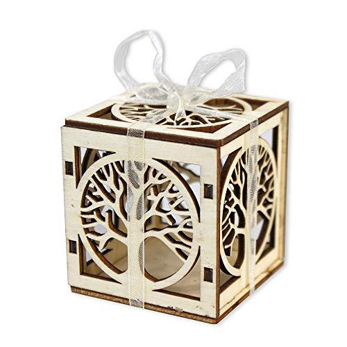 Vetrineinrete® scatoline portaconfetti 24 pezzi albero della vita in legno levigato bomboniera segnaposto matrimonio comunione battesimo scatola confetti (legno chiaro)