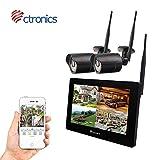 (Écran Tactile) Kit caméra de Surveillance sans Fil, NVR Kit avec écran Tactile 9 '' et WiFi caméras 2 * 720p avec Vision Noturne, Détection de Mouvement,Installation intérieure et extérieur(Noir)