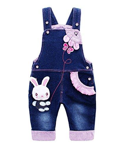 Baby Mädchen Denim Overall Jeans Hose mit Hosenträger Kinder Baumwolle Latzhose Kaninchen Butterfly - 80
