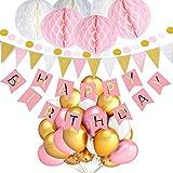 JUZNOY Geburtstag Dekoration Wabenbälle Große Geperlte Ballons, 9.8ft, Rosa, 30pcs