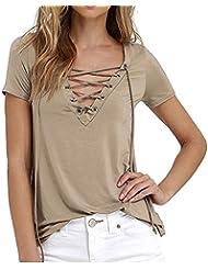Mujer Vendaje V-cuello Elegante Manga Corta Blusa Casual Camiseta Caqui XL