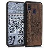kwmobile Holz Schutzhülle für Samsung Galaxy A40 - Hardcase Hülle mit TPU Bumper Walnussholz in Aufgehende Sonne Design Dunkelbraun - Handy Case Cover