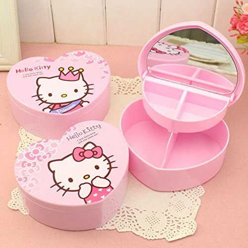 RIANZ All new Imported Hello Kitty Jewelry / Cosmetic Heart Shaped Organizer with 12 eraser + 1 elastic band