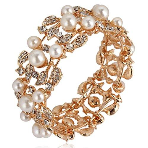 Ever Faith Nuziale Fiore color avorio crema simulato il braccialetto della perla cristallo austriaco - Gold-Tone A06121-3