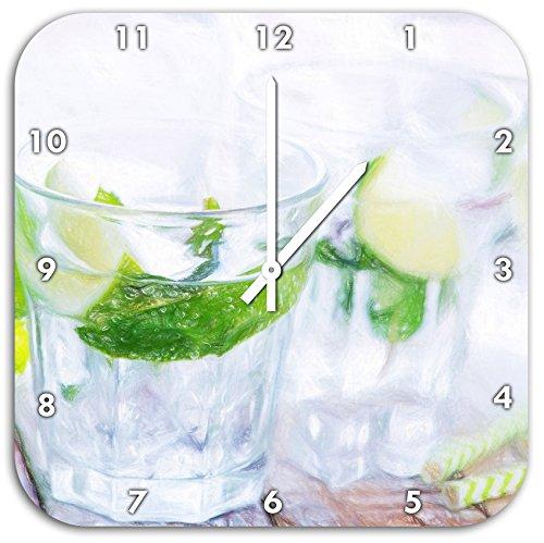 Mojito-Gläser mit Minze Kunst Buntstift Effekt, Wanduhr Durchmesser 48cm mit weißen spitzen...