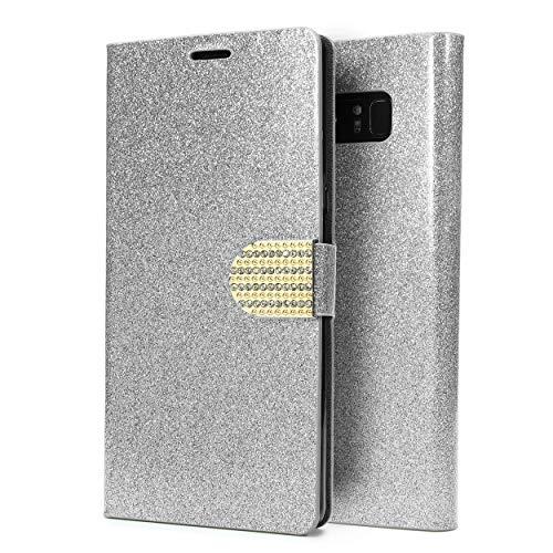 Urcover Bling Glitzer kompatibel mit Samsung Galaxy Note 8 Wallet I Handy Schutz-Hülle I Kartenfach & Standfunktion I Flip-Cover mit Magnet-Verschluss I Case mit Strass-Steinen I Etui Silber