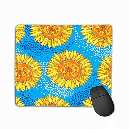 Mouse pad Vector Seamless Pattern Outline Open Sunflower Helianthus Flower Yellow orange Blue Background floral Ornate steelseries Keyboard -