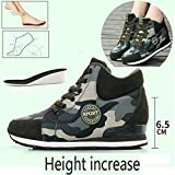 Womens Camouflage High-Heeled Sneakers Army Green Height Increase Shoes