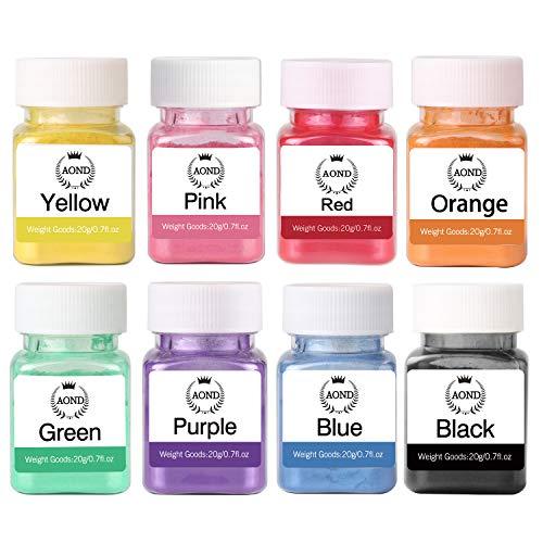 AOND Colorant en Poudre, 160g Colorant Savon pigments, 20g x 8 Couleurs de pigments de Poudre de mica Naturel à colorer Savon, Loisirs créatifs, Bombe de Bain, résine époxy, sel de Bain, Spa,Slime