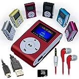 Mini reproductor MP3 Rojo con FM + Auriculares + Cable Mini USB + Tarjeta Micro SD 8GB