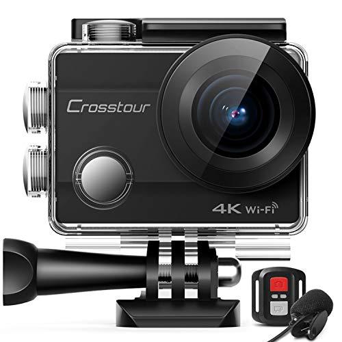 Crosstour Action Cam 4K 16MP Kamera 40M wasserdichte Unterwasserkamera Digitale WiFi Helmkamera mit EIS Sensor, 2.4G Fernbedienung, externem Mikrofon und Montage Zubehör Kit