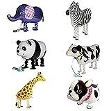 Globo - SODIAL(R)6pzs Globos de animal caminando Decoracion de fiesta de cumpleanos Regalo de ninos - Incluyendo Buldog, Girafa, Cebra, Elefante, Panda, Vaca