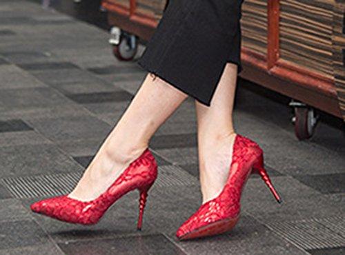 Caviglia Alto Cinturino Rosse Sposate Scarpe Aisun Alla Sexy Donna Tacco aqwXtXE