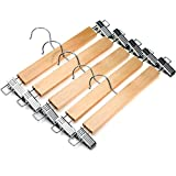 J. S. Kleiderbügel Natural Finish Holz Pant Rock Kleiderbügel mit 2 -Einstellbare Anti-Rost-Clips, 5 Stück
