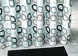 Duschvorhang Textil ~ Motiv: Retro / Quadrate ~ Farbe: weiß schwarz braun und grau ~ Maße: 180 x 200 cm ~ 100 % Polyester ~ mit 12 Ösen ~ ohne Duschringe