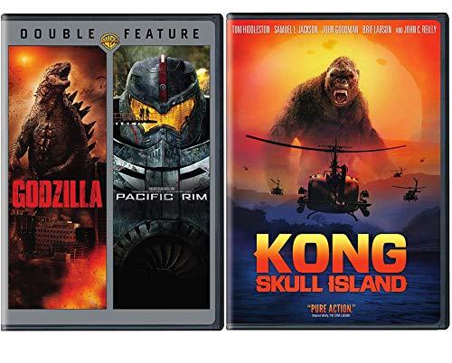 Skull Rim Triple Monster Movie Bundle King Kong Skull Island + Pacific Rim & Godzilla DVD Triple Feature Madness