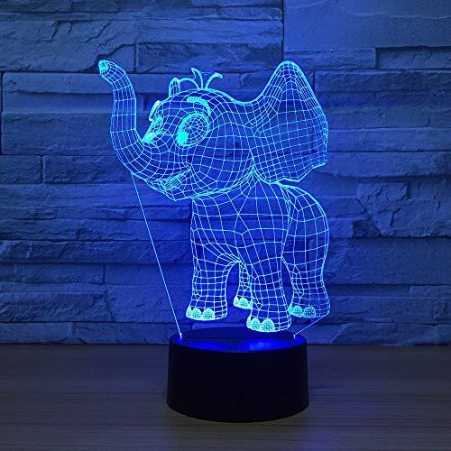 3D Illusion Lámpara Elefantes Niños Decoración Tabla Lámpara De Escritorio 7 Colores...