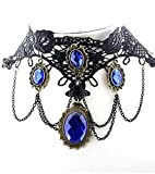 Viktorianisches Spitzen-Halsband mit blauen Steinen -Retro,Gothic,Belle Epoque