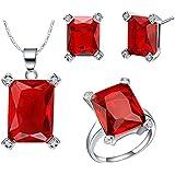 AnaZoz Joyería de Moda Simple Personalidad Chapado en Platino Juegos de Joyas Para Mujer (Collar Pendiente Anillo Juegos de Joyas) Rectángulo Rojo Cristal Granate