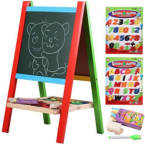 ffelei Magnetisch doppelseitiges Staffelei für Whiteboard & Tafel mit verstellbaren Ständer,Kinder Spaß Und Bildung Zweiseitige Tafel(Holz) ()
