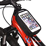 DCCN, morsa per manubrio della bicicletta, porta telefono cellulare con touch screen, borsetta per tubo anteriore o telaio della bicicletta, resistente all'acqua, H-Black