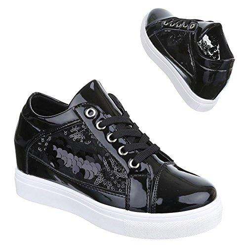Scarpe Da Donna, 6-17, Scarpe Casual Sneakers Alte In Pizzo Con Zeppa Nere