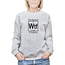 Camisa de entrenamiento para mujer con la impresión del WTF The Element of Surprise Funny Joke Illustration .