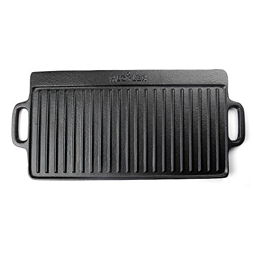 Rustler Cast Iron Griddle Pan BBQ Enamel Coating – Reversible Double-Sided Grill Plate – 42.5 x 23.2 x 1.5 cm – Perfect Barbecues, Campfires, Gas Charcoal Ovens Hobs