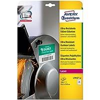Avery España L7912-10 - Pack de 10 hojas de etiquetas de seguridad, 63.5 x 33.9 mm, color blanco