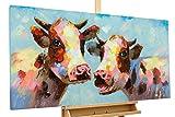 KunstLoft® Acryl Gemälde 'Tierischer Klatsch' 120x60cm | original handgemalte Leinwand Bilder XXL | Kuh Bunt Blau Tier | Wandbild Acrylbild moderne Kunst einteilig mit Rahmen