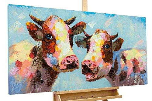 mälde 'Tierischer Klatsch' 120x60cm | original handgemalte Leinwand Bilder XXL | Kuh Bunt Blau Tier | Wandbild Acrylbild moderne Kunst einteilig mit Rahmen ()