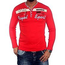 Baxboy Señor Camiseta V de manga larga con cuello–Camiseta polo negro/blanco/turquesa/gris BB de 660