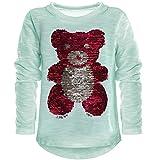 BEZLIT Kinder Mädchen Wende Pailletten Lang Shirt Bluse Langarm Sweat Shirt Mini 21061, Farbe:Grün;Größe:128
