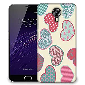 Snoogg Multicolor Heart Designer Protective Phone Back Case Cover For Meizu M2