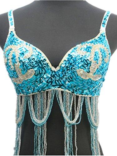 BRA Top reggiseno costumi diamante perline frange reggiseno dancewear per costume danza del ventre tribale