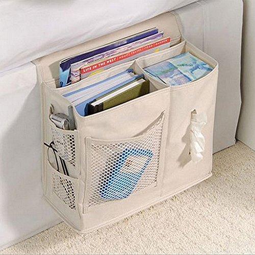Baoblaze Nachttisch Storage Bett Sofa Hängende Aufbewahrungstasche, Oxford Speicher Organizer für Magazin Buch Gewebe Fernbedienung Uhr Handy Brille - Beige