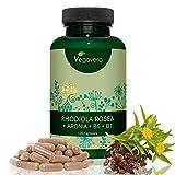 Vegavero Rhodiola Rosea | con Rosavin + Aronia + B6 + B1 | 120 cápsulas | aumentar memoria concentración energía | reducir fatiga estrés insomnio | Vegano