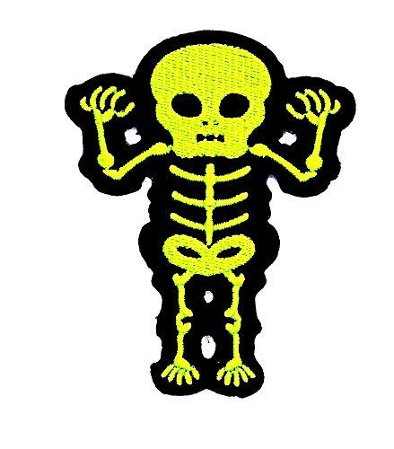 (rabana grün x-ray Tribal Tattoo Rockabilly Sugar Skull Day of dead biker Patch Kinder Cute Animal Patch für Heimwerker-Applikation Eisen auf Patch T Shirt Patch Sew Iron on gesticktes Badge Schild Kostüm)