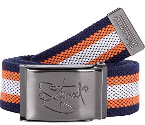 2Stoned Gürtel Canvas Belt Navy-Orange-Weiß, Matte Schnalle Classic, 4 cm breit, Stoffgürtel für Damen und Herren -