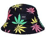 Eozy Unisex Sonnenhut Bucket Hat Fischerhut Cannabis Muster Mütze Bunt